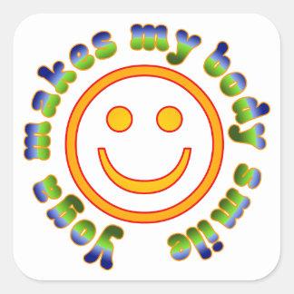 Yoga Makes My Body Smile Health Fitness New Age Square Sticker