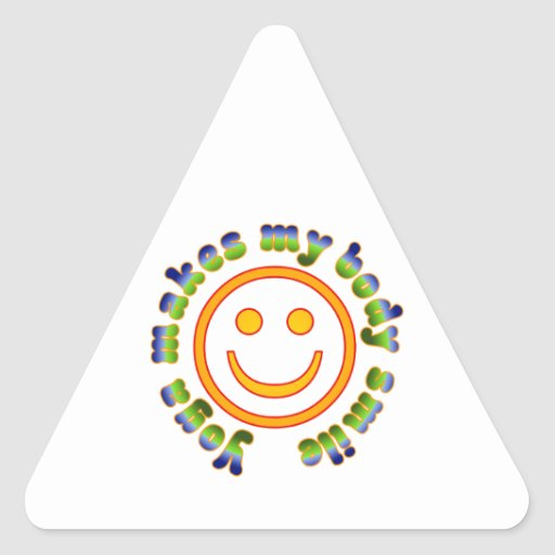 Yoga Makes My Body Smile Health Fitness New Age Triangle Stickers