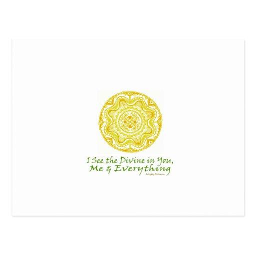Yoga Mandala, I see the Divine In You Postcard