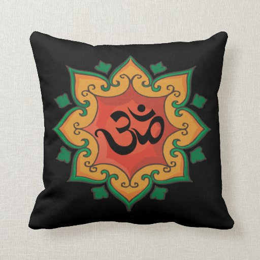 Yoga Mandala Om Front Tree of Life Back Throw Pillow