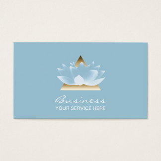 Yoga Massage Therapy Elegant Blue Lotus Flower Business Card