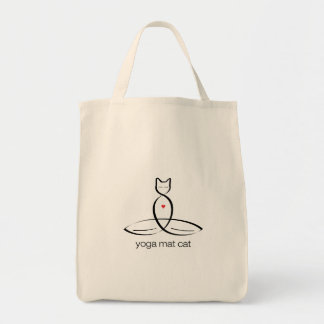 Yoga Mat Cat - Regular style text. Tote Bag