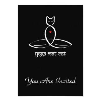 Yoga Mat Cat - Sanskrit style text. Card