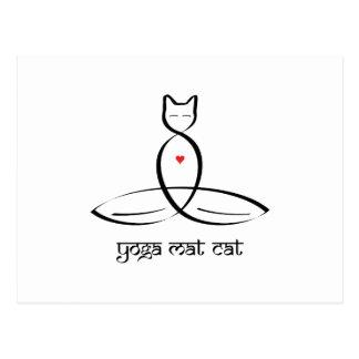 Yoga Mat Cat - Sanskrit style text. Postcard