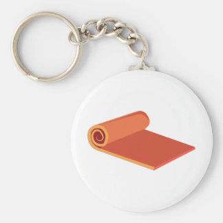 Yoga Mat Basic Round Button Keychain