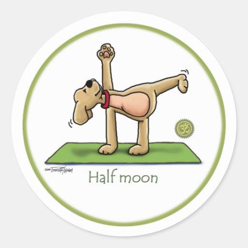 Yoga - media luna pegatina redonda