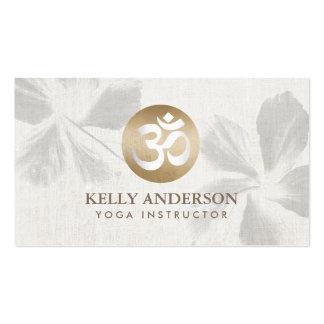 Yoga Mediation Monogram Gold Om Sign Zen Floral Business Card