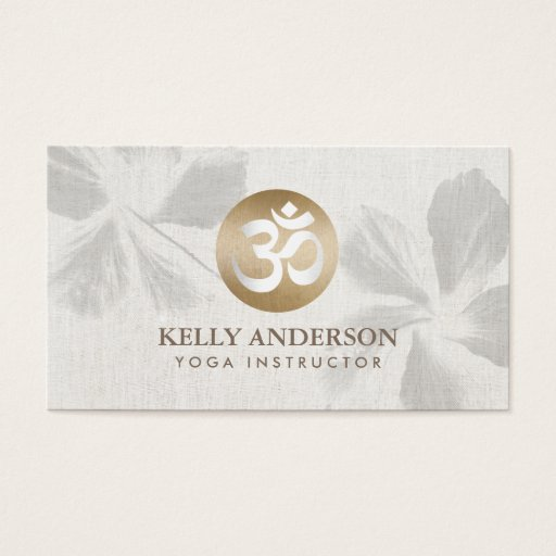 Yoga Mediation Monogram Gold Om Sign Zen Floral Business Card