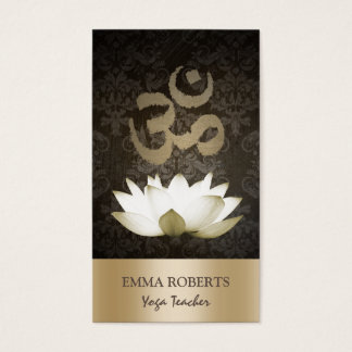 Yoga Mediation Vintage Gold Om Symbol & Lotus Business Card