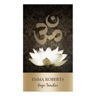 Yoga Mediation Vintage Gold Om Symbol & Lotus Double-Sided Standard Business Cards (Pack Of 100)
