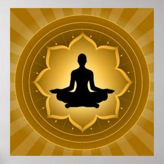 Yoga - meditación en el fondo de Lotus Impresiones
