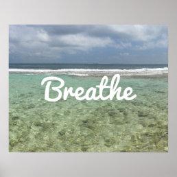 "Yoga & Meditation Beach ""Breathe"" Spirit Poster"