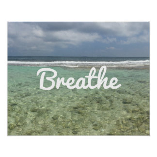 "Yoga & Meditation Beach ""Breathe"" Spirit Poster"