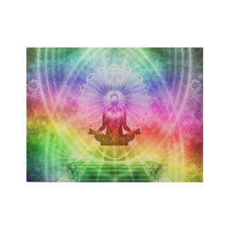 Yoga Meditation Buddhist Nirvana Inspirational Wood Poster