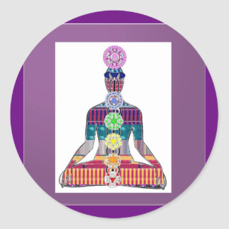 Yoga Meditation Chakra Sparkle Healing Energy Classic Round Sticker