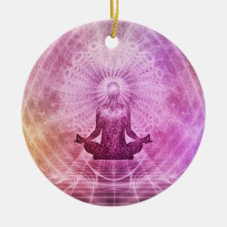 Yoga Meditation Colorful Art Illustration Ceramic Ornament