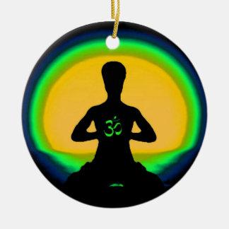 Yoga Meditation Double-Sided Ceramic Round Christmas Ornament