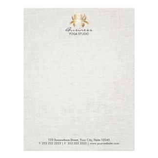 Yoga & Meditation Elegant Gold Lotus Faux Linen Letterhead