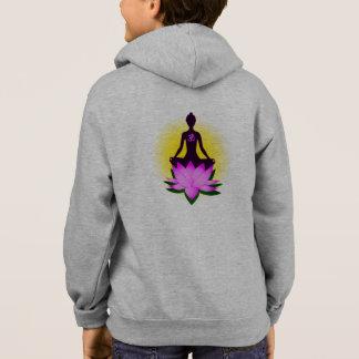 Yoga meditation in pink lotus name girl's hoodie