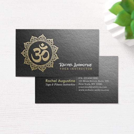 YOGA Meditation Instructor Black Gold OM Mandala Business Card