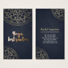 Yoga Meditation Instructor Chic Black Gold Mandala Business Card at Zazzle