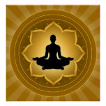 Yoga - Meditation On Lotus Background Poster