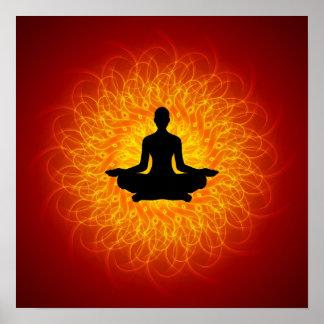 Yoga - Meditation On Mandala Poster