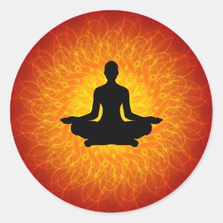 Yoga - Meditation On Mandala Round Stickers