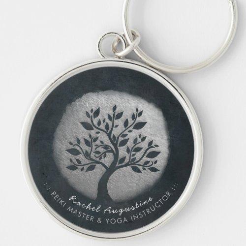 Yoga Meditation Reiki Instructor Black Silver Tree Keychain