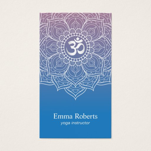 Yoga & Meditation Teacher Mandala Namaste Om Sign Business Card