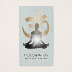 Yoga & Meditation Teacher Stylish Faux Linen Business Card at Zazzle