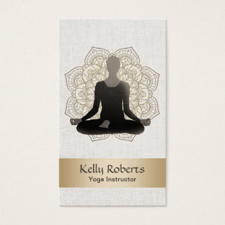 Yoga & Meditation Teacher Vintage Lotus Mandala Business Card