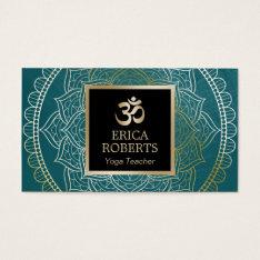 Yoga & Meditation Teacher Vintage Mandala Teal Business Card at Zazzle