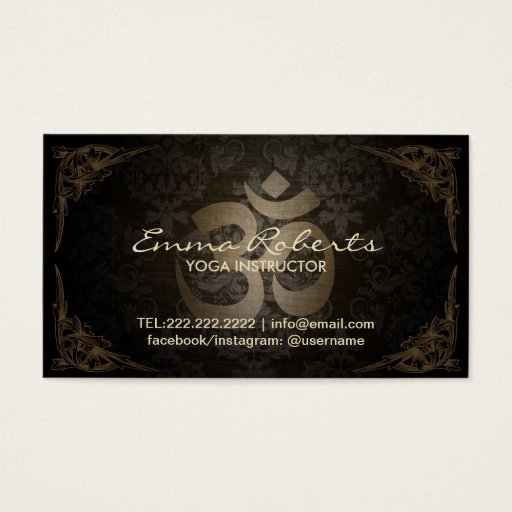 Yoga & Meditation Vintage Damask Framed Om Sign Business Card