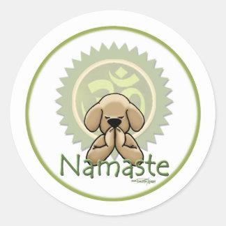 Yoga - Namaste Pegatina Redonda