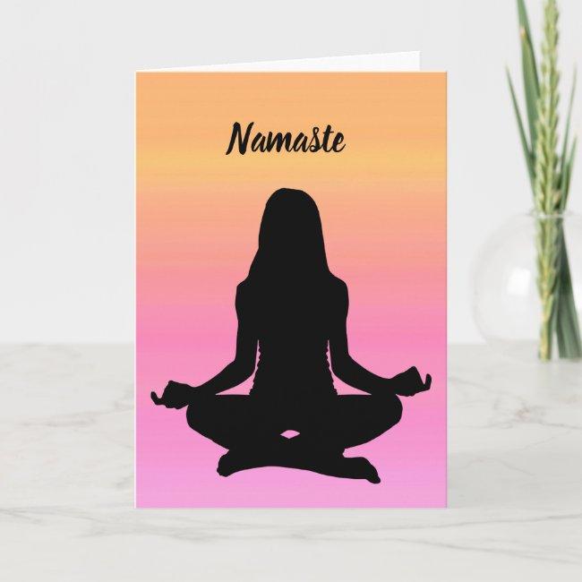 Yoga Namaste Pink Orange Rainbow Blank Card