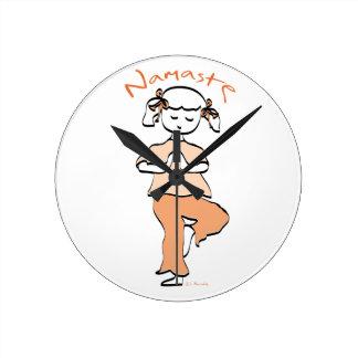 Yoga Namaste Young Girl Round Clock