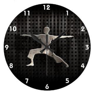 Yoga; Negro fresco Reloj De Pared