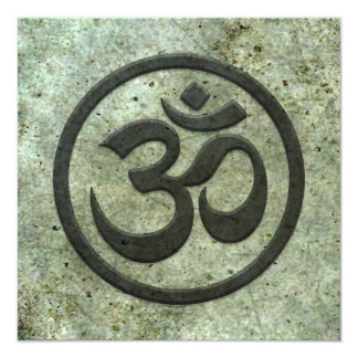 Yoga Om Circle with Aged Steel Effect 5.25x5.25 Square Paper Invitation Card
