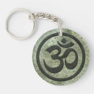 Yoga Om Circle with Aged Steel Effect Keychain
