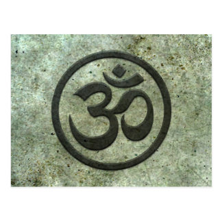 Yoga Om Circle with Aged Steel Effect Postcard