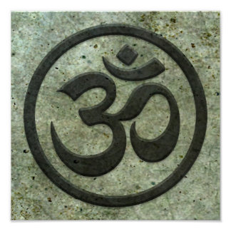 Yoga Om Circle with Aged Steel Effect Print