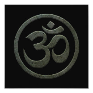 Yoga Om Circle with Dark Steel Effect 5.25x5.25 Square Paper Invitation Card
