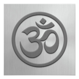 Yoga Om Circle with Stainless Steel Effect 5.25x5.25 Square Paper Invitation Card
