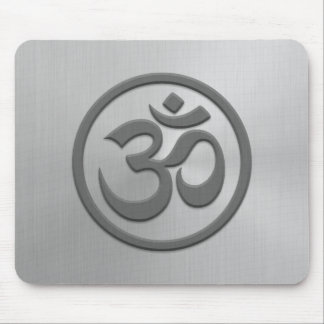 Yoga Om Circle with Stainless Steel Effect Mouse Pad