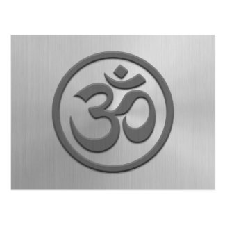 Yoga Om Circle with Stainless Steel Effect Postcard