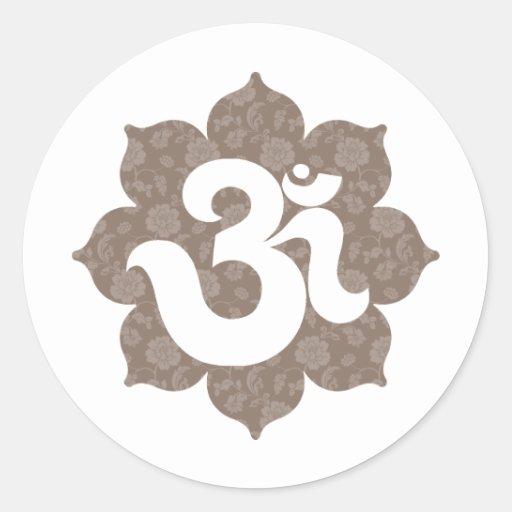 Yoga OM en el gris marrón de Lotus Pegatina Redonda