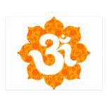 Yoga OM en el naranja de Lotus Postal
