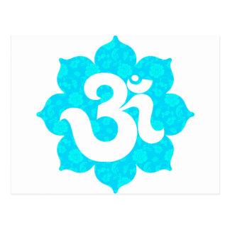 Yoga OM en Lotus azul claro Tarjeta Postal
