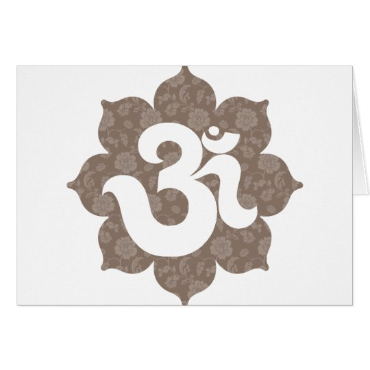Yoga Om in Lotus brown gray Card